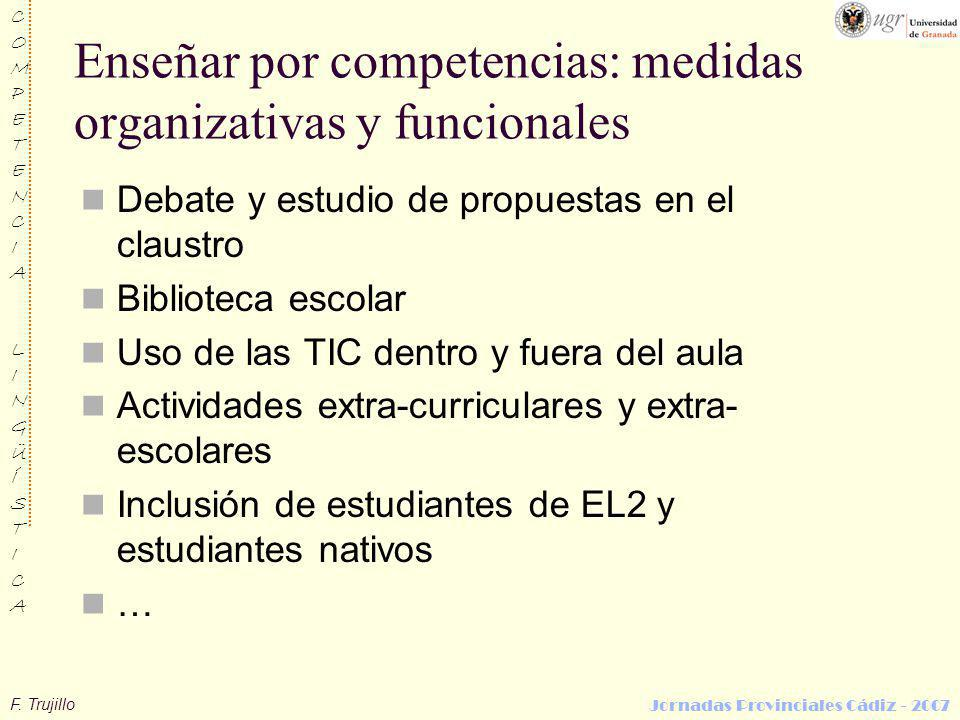 Enseñar por competencias: medidas organizativas y funcionales