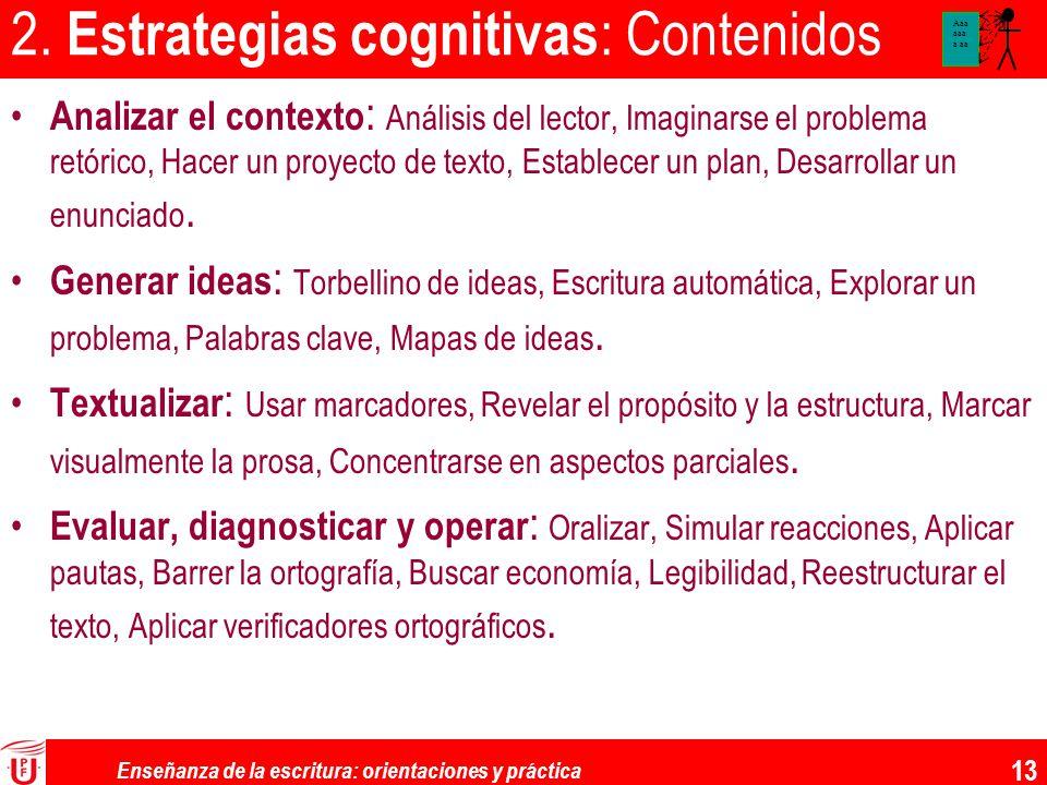 2. Estrategias cognitivas: Contenidos