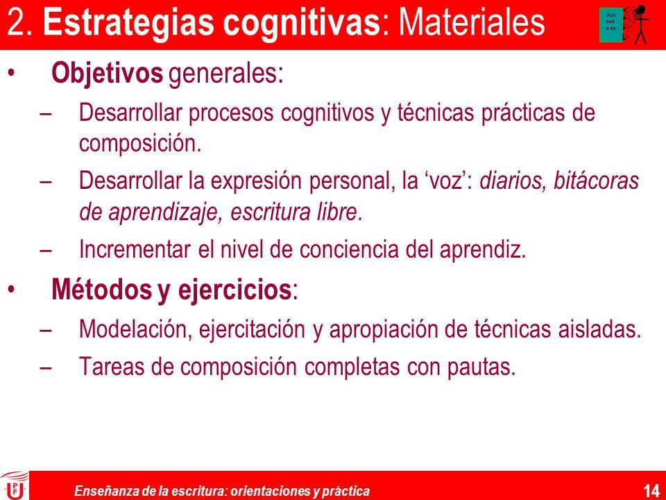 2. Estrategias cognitivas: Materiales