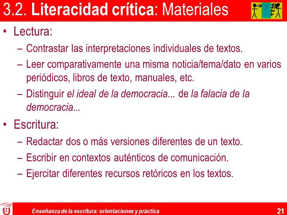 3.2. Literacidad crítica: Materiales
