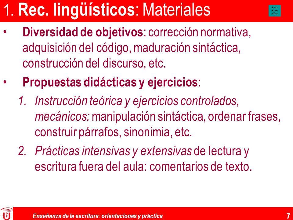1. Rec. lingüísticos: Materiales