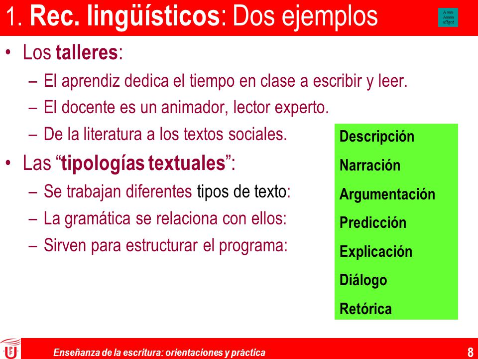 1. Rec. lingüísticos: Dos ejemplos