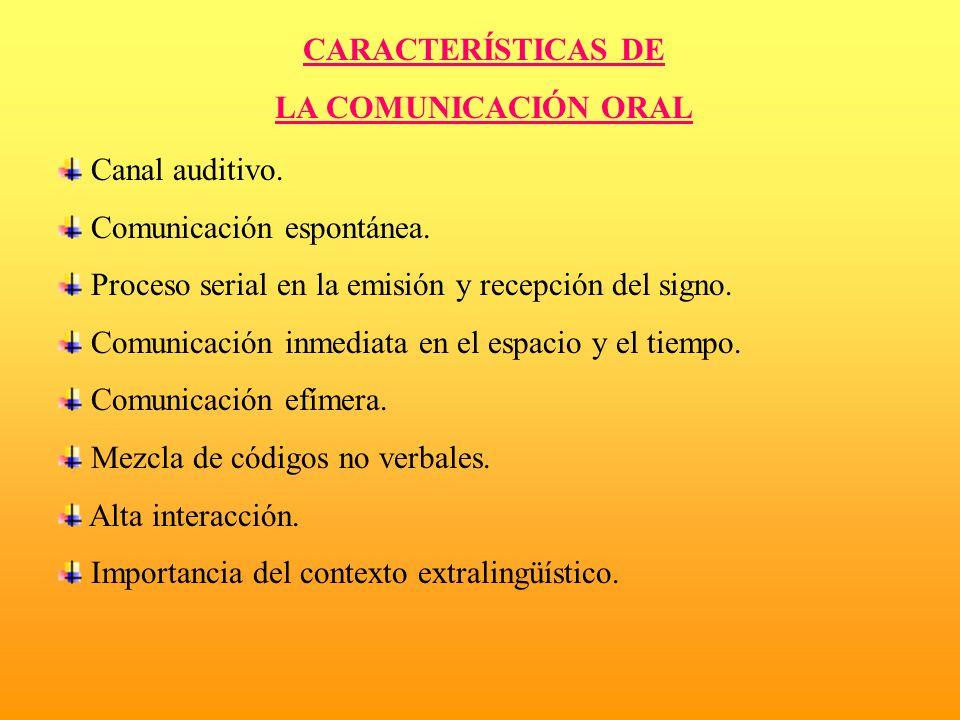 CARACTERÍSTICAS DE LA COMUNICACIÓN ORAL. Canal auditivo. Comunicación espontánea. Proceso serial en la emisión y recepción del signo.