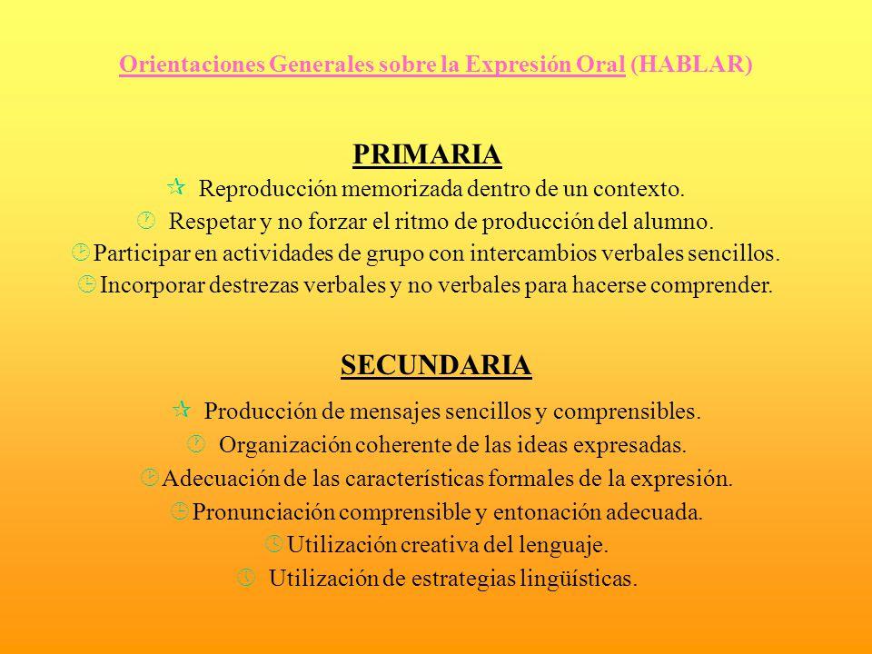 Orientaciones Generales sobre la Expresión Oral (HABLAR)