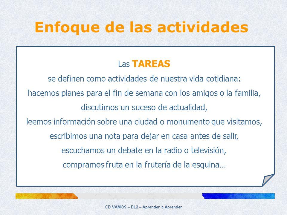 Enfoque de las actividades CD VAMOS – EL2 – Aprender a Aprender