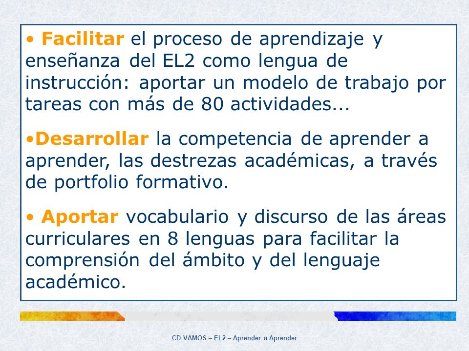 CD VAMOS – EL2 – Aprender a Aprender