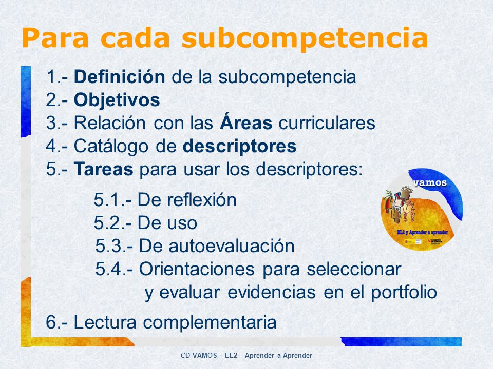 Para cada subcompetencia