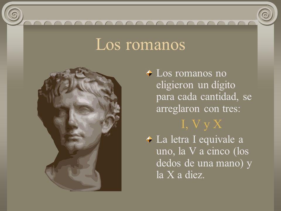 Los romanos Los romanos no eligieron un dígito para cada cantidad, se arreglaron con tres: I, V y X.