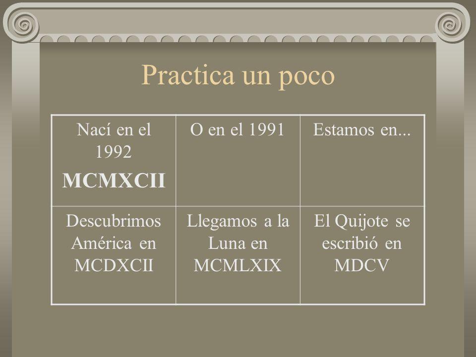 Practica un poco MCMXCII Nací en el 1992 O en el 1991 Estamos en...