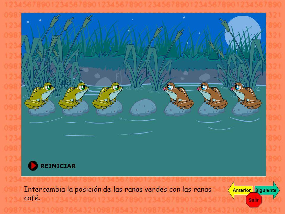 Intercambia la posición de las ranas verdes con las ranas café.