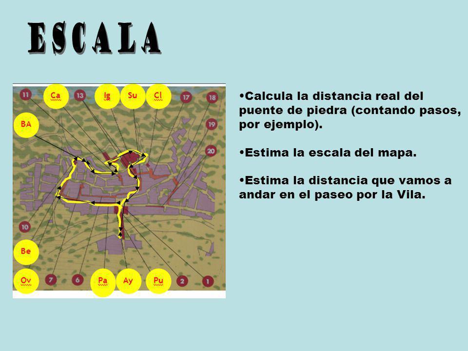 ESCALA Calcula la distancia real del puente de piedra (contando pasos, por ejemplo). Estima la escala del mapa.