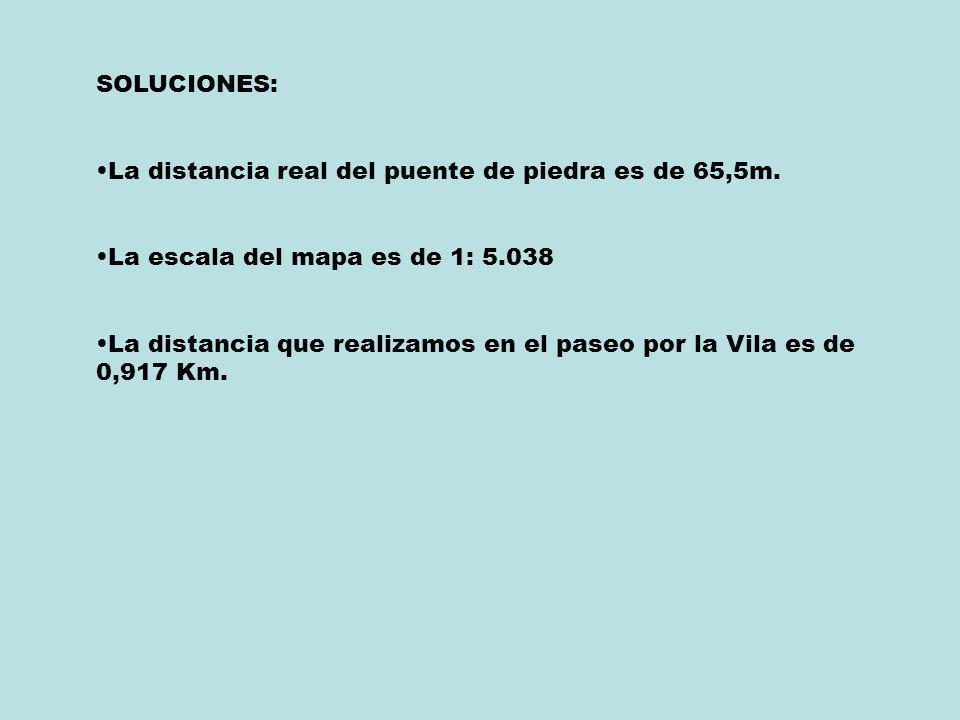 SOLUCIONES: La distancia real del puente de piedra es de 65,5m. La escala del mapa es de 1: 5.038.