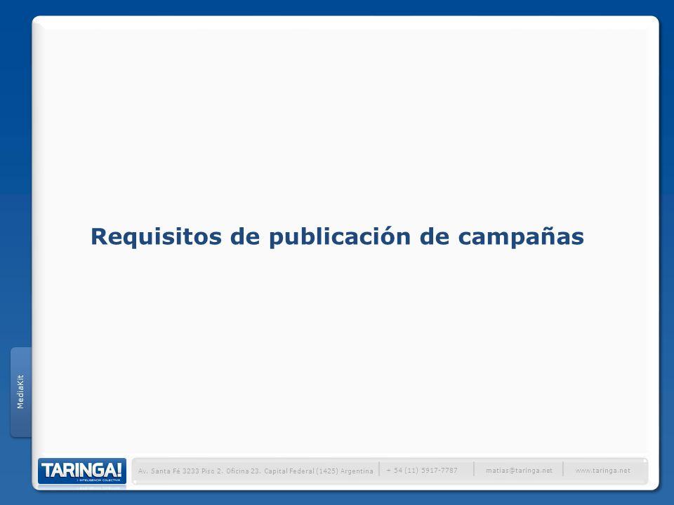Requisitos de publicación de campañas