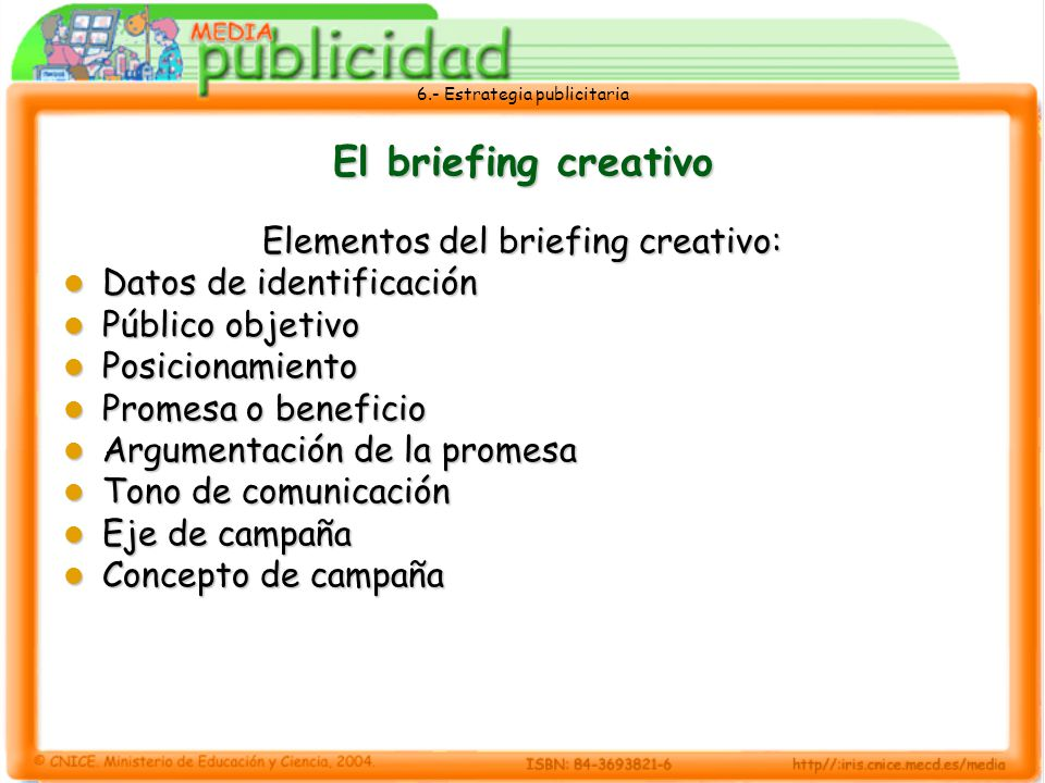 Elementos del briefing creativo: