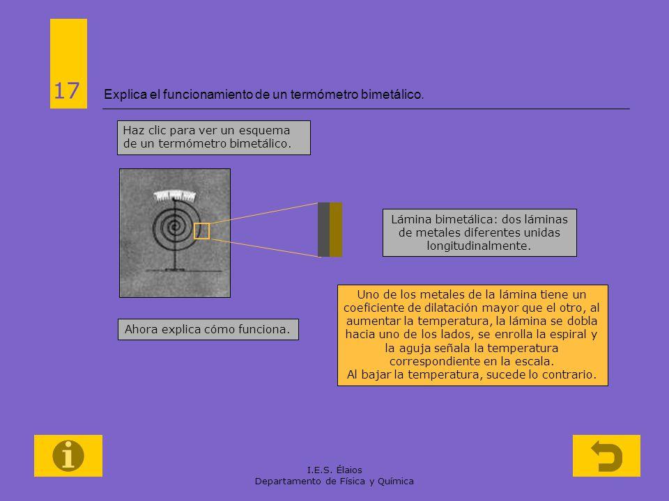 Explica el funcionamiento de un termómetro bimetálico.