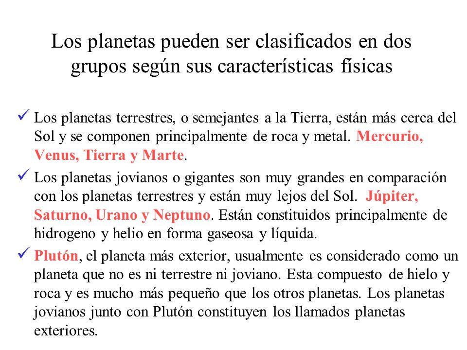 Los planetas pueden ser clasificados en dos grupos según sus características físicas