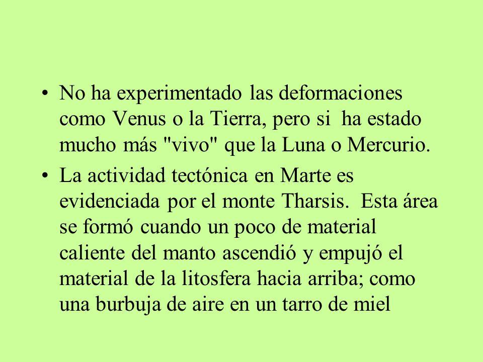 No ha experimentado las deformaciones como Venus o la Tierra, pero si ha estado mucho más vivo que la Luna o Mercurio.