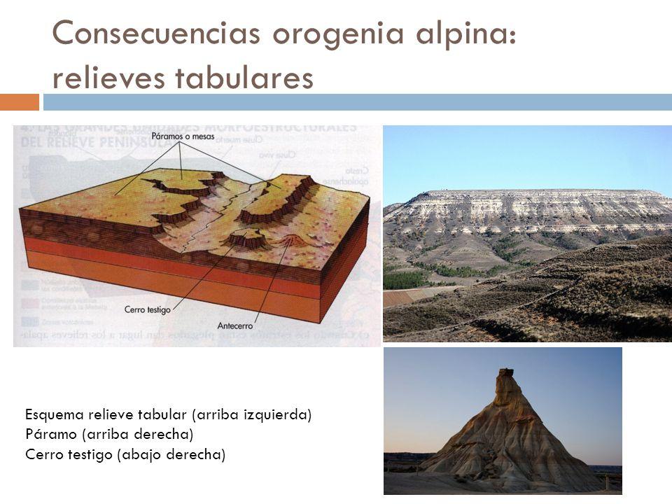 Consecuencias orogenia alpina: relieves tabulares