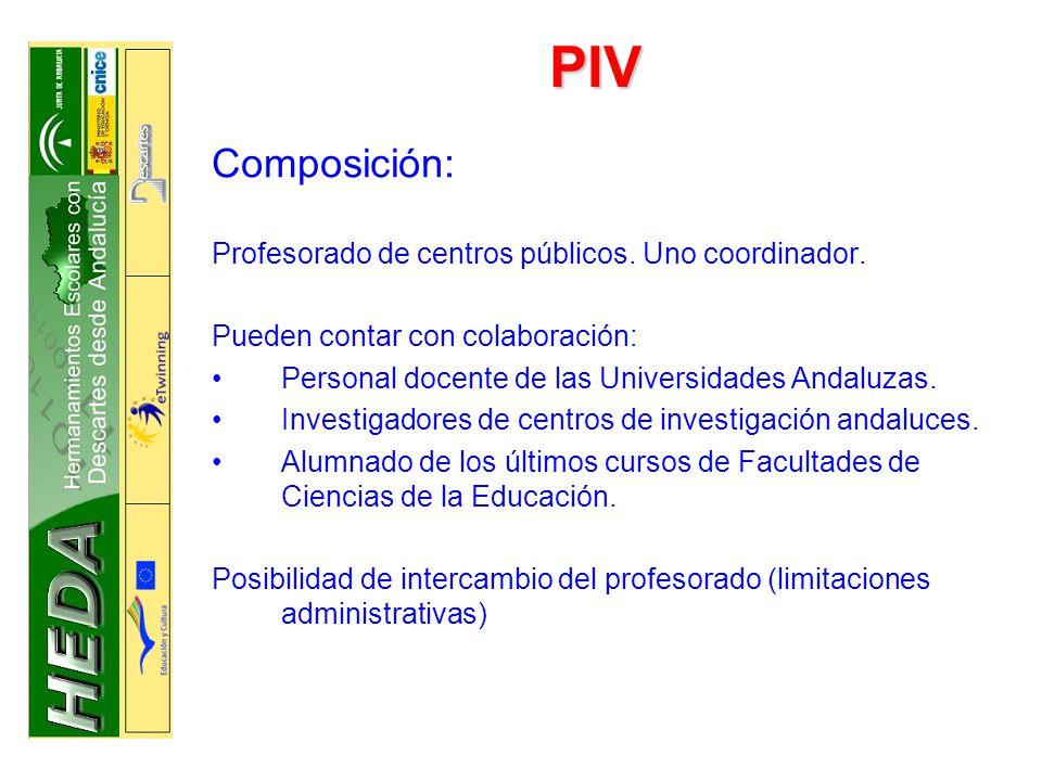 PIV Composición: Profesorado de centros públicos. Uno coordinador.