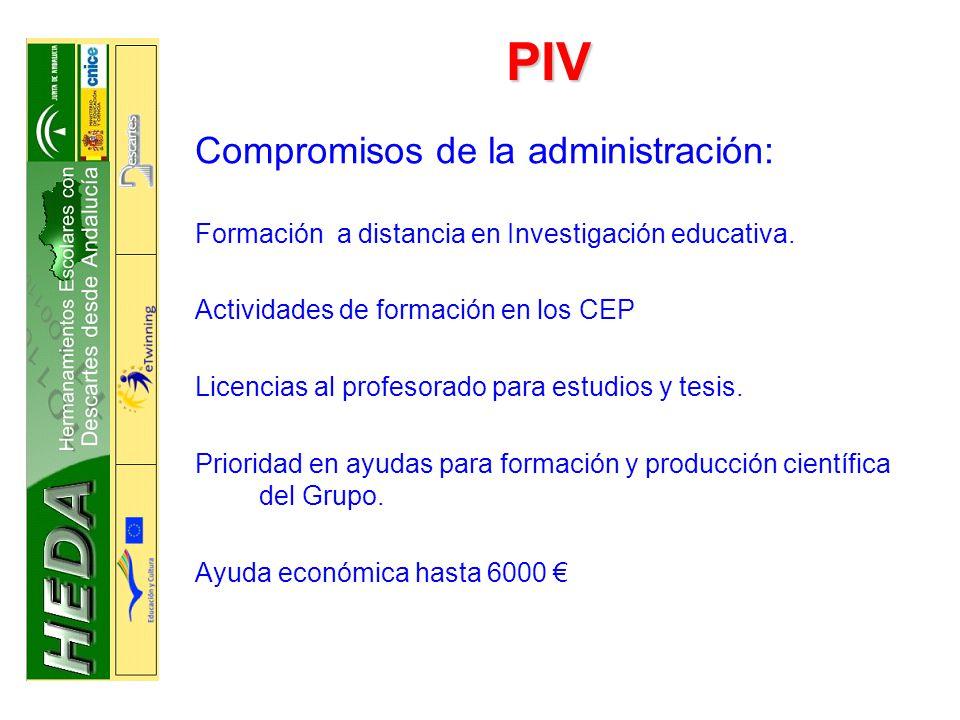 PIV Compromisos de la administración: