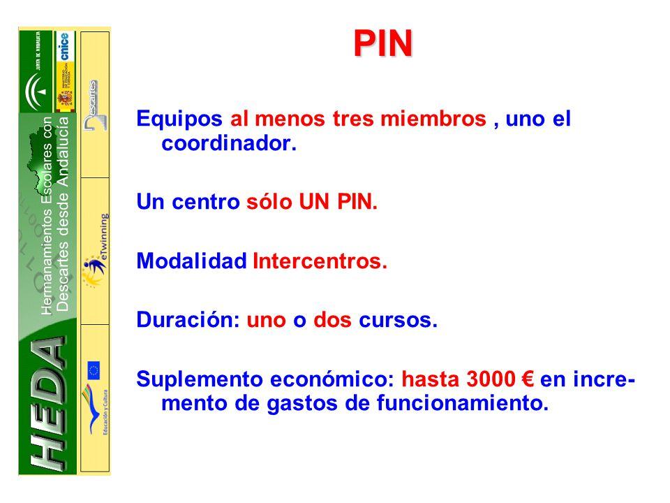 PIN Equipos al menos tres miembros , uno el coordinador.