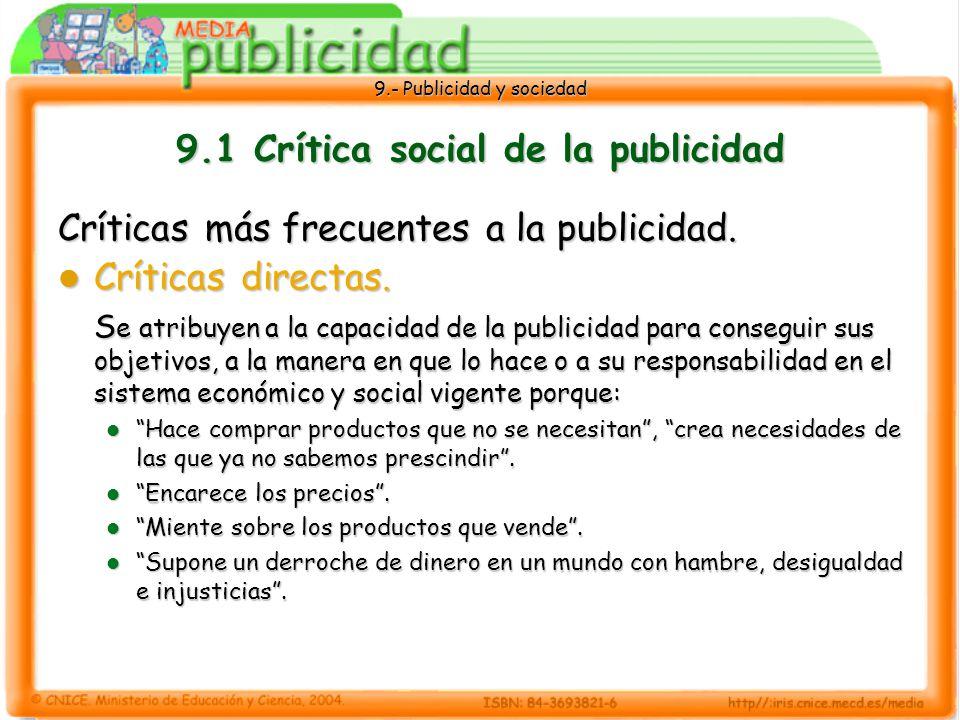 9.1 Crítica social de la publicidad