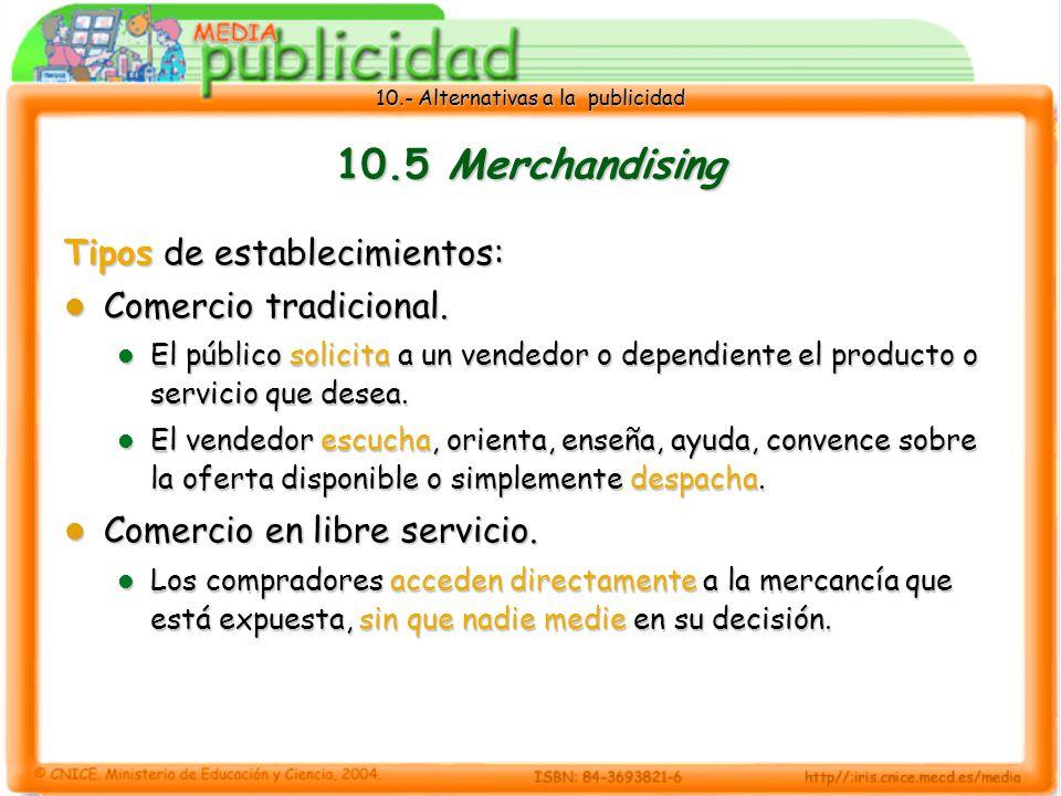 10.5 Merchandising Tipos de establecimientos: Comercio tradicional.