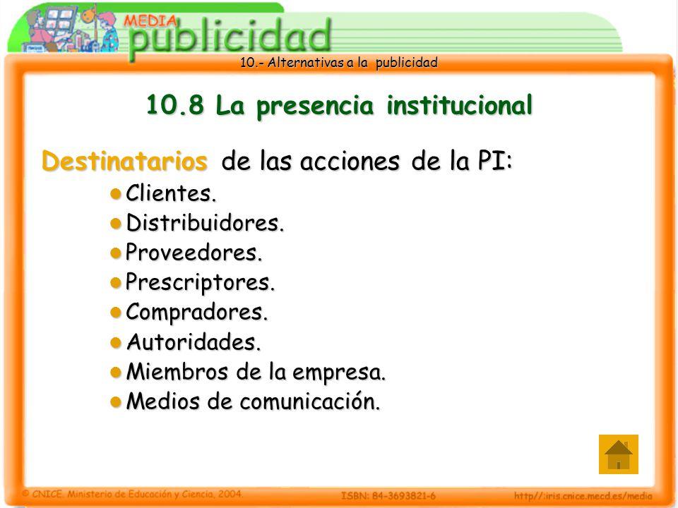 10.8 La presencia institucional