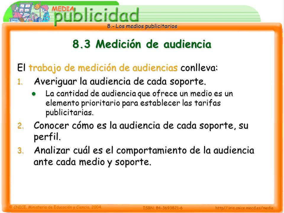 8.3 Medición de audiencia El trabajo de medición de audiencias conlleva: Averiguar la audiencia de cada soporte.