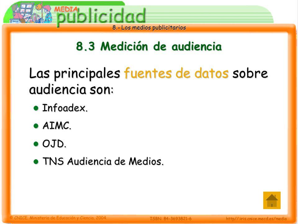 Las principales fuentes de datos sobre audiencia son: