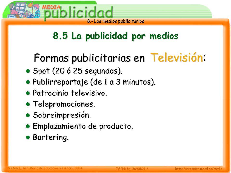 8.5 La publicidad por medios