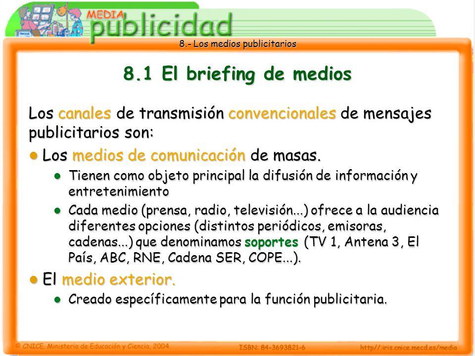 8.1 El briefing de medios Los canales de transmisión convencionales de mensajes publicitarios son: Los medios de comunicación de masas.