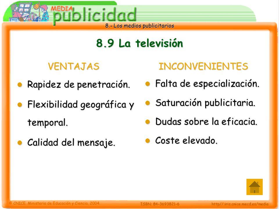 8.9 La televisión VENTAJAS Rapidez de penetración.