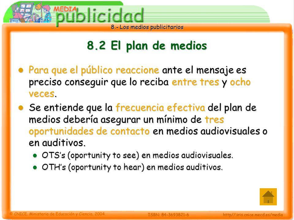 8.2 El plan de medios Para que el público reaccione ante el mensaje es preciso conseguir que lo reciba entre tres y ocho veces.