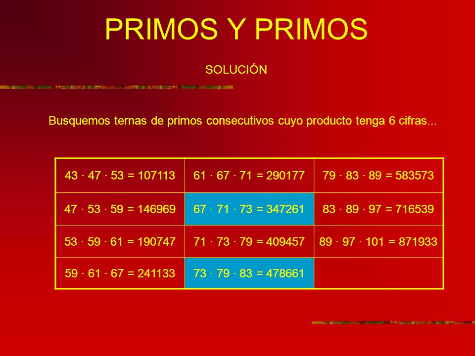 PRIMOS Y PRIMOS SOLUCIÓN