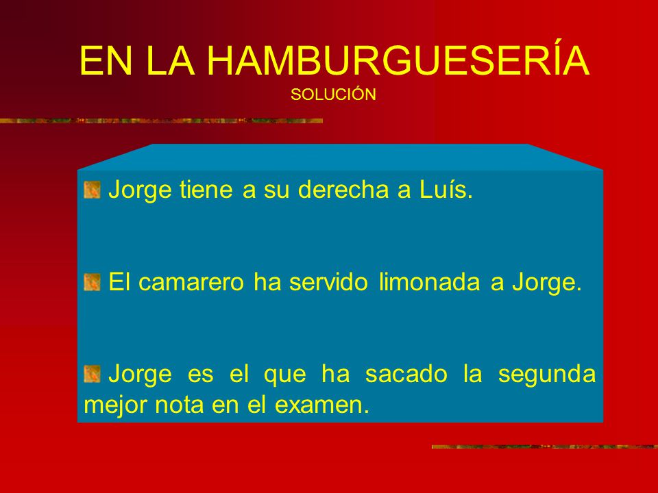 EN LA HAMBURGUESERÍA SOLUCIÓN