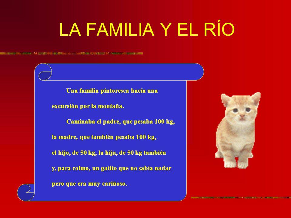 LA FAMILIA Y EL RÍO Una familia pintoresca hacía una