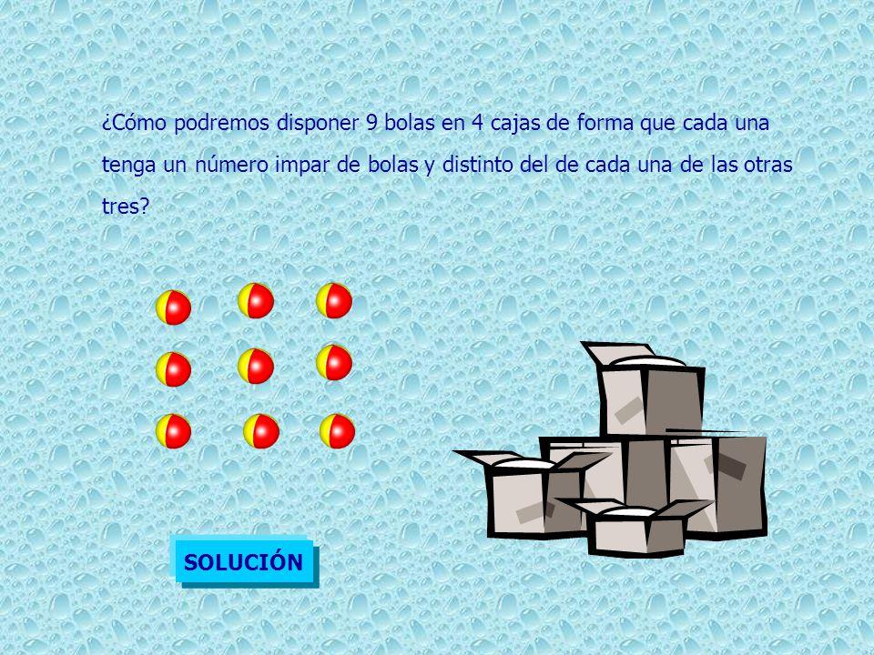 ¿Cómo podremos disponer 9 bolas en 4 cajas de forma que cada una tenga un número impar de bolas y distinto del de cada una de las otras tres