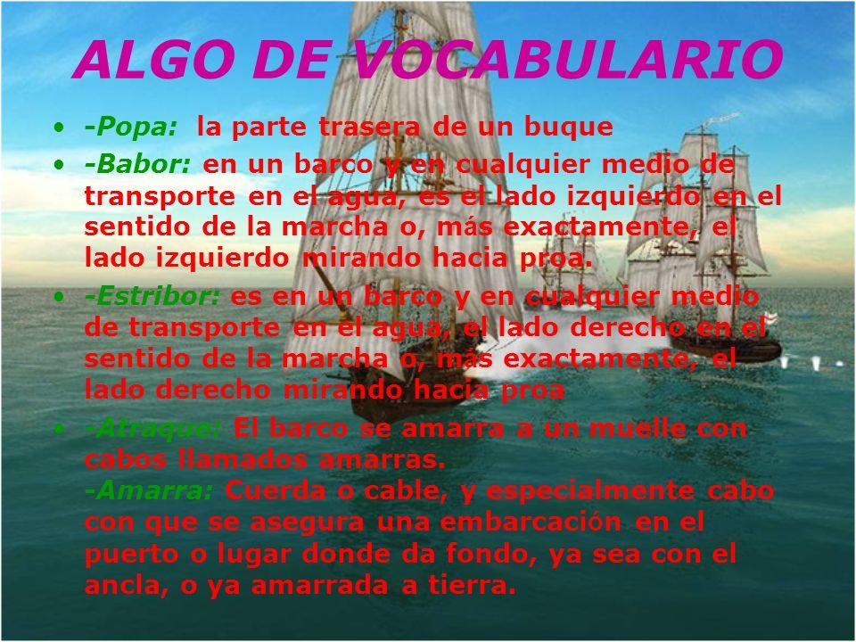 ALGO DE VOCABULARIO -Popa: la parte trasera de un buque