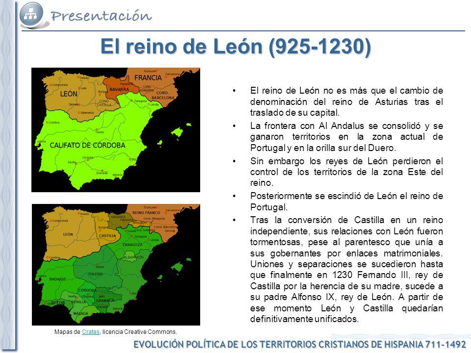 El reino de León (925-1230) El reino de León no es más que el cambio de denominación del reino de Asturias tras el traslado de su capital.