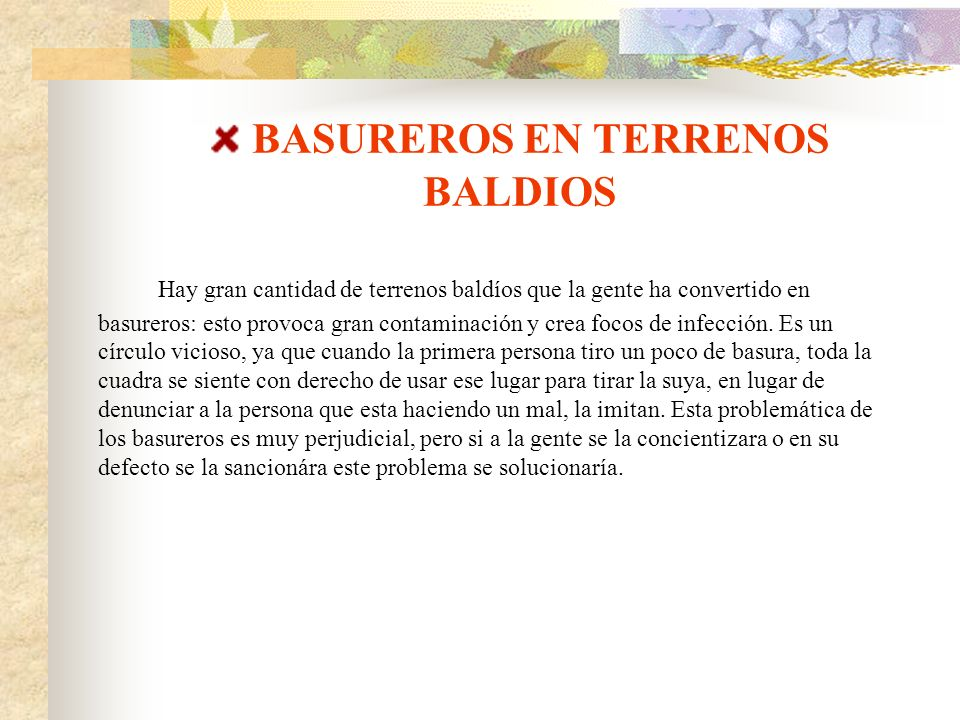 BASUREROS EN TERRENOS BALDIOS