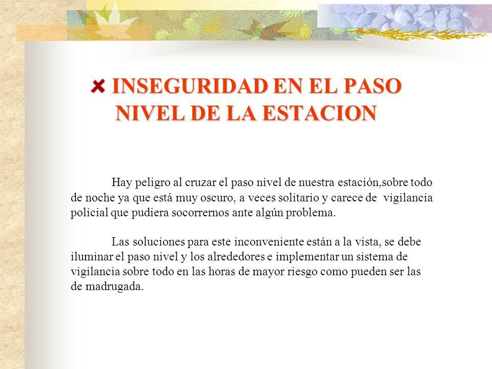 INSEGURIDAD EN EL PASO NIVEL DE LA ESTACION