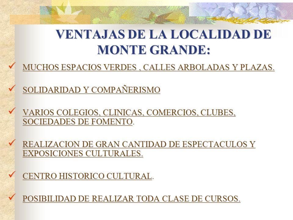 VENTAJAS DE LA LOCALIDAD DE MONTE GRANDE: