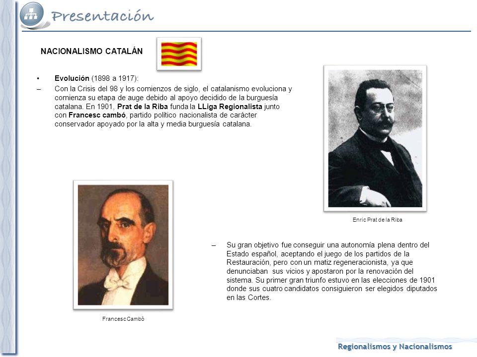 NACIONALISMO CATALÁN Evolución (1898 a 1917):