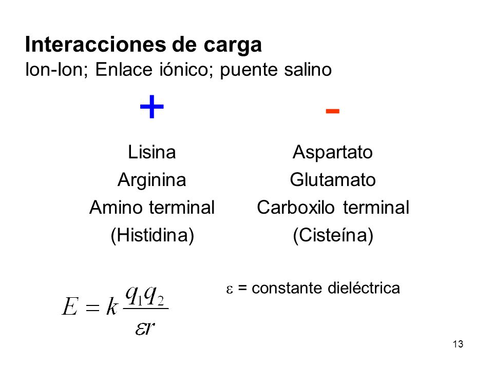 + - Interacciones de carga Ion-Ion; Enlace iónico; puente salino