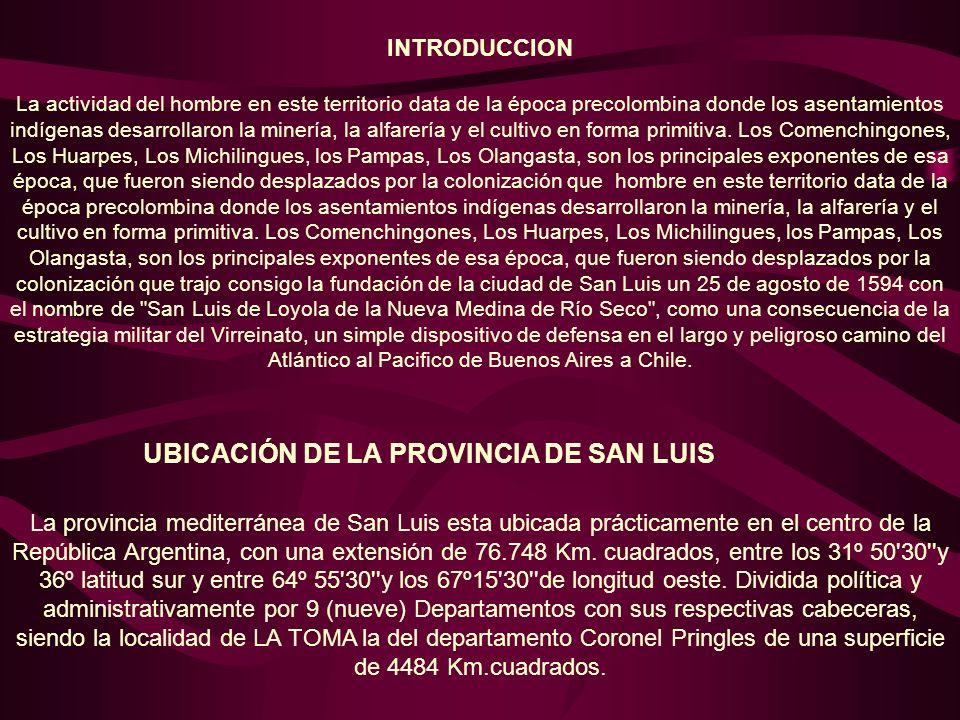 UBICACIÓN DE LA PROVINCIA DE SAN LUIS