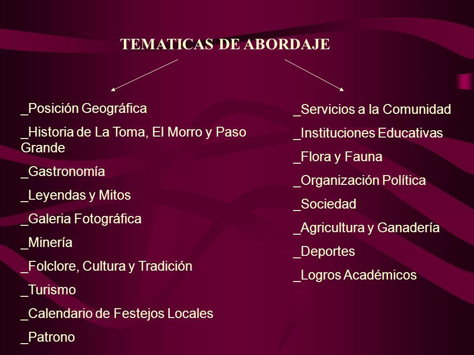 TEMATICAS DE ABORDAJE _Posición Geográfica _Servicios a la Comunidad