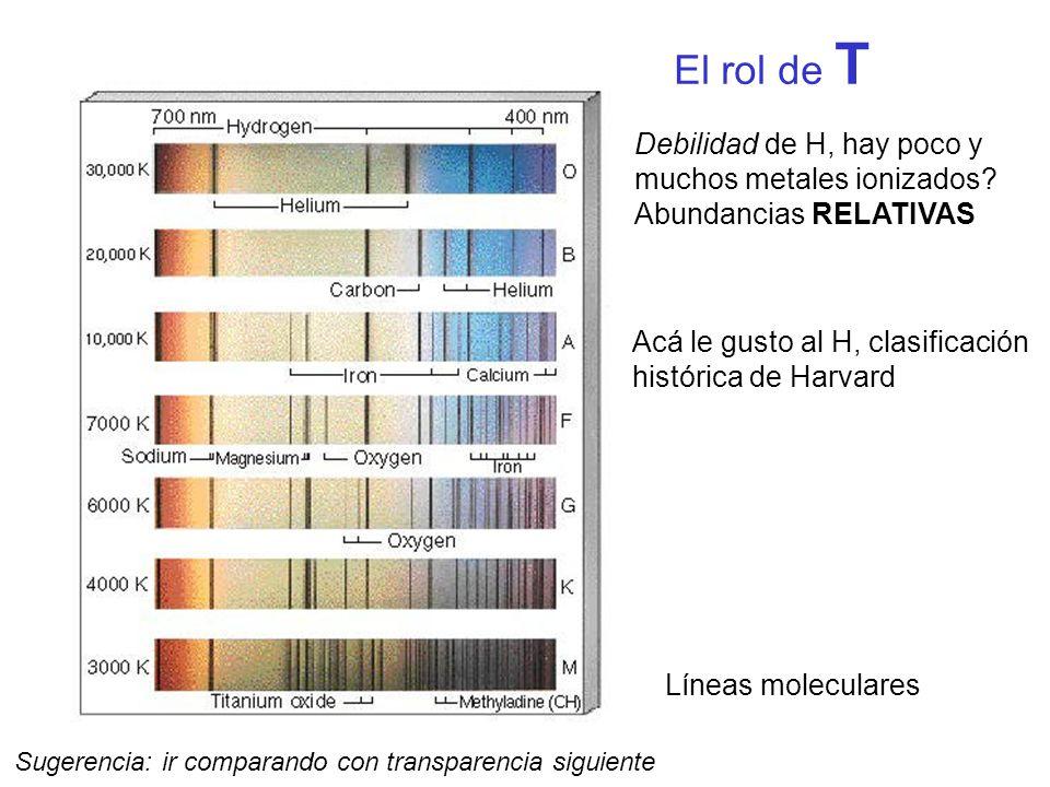 El rol de T Debilidad de H, hay poco y muchos metales ionizados