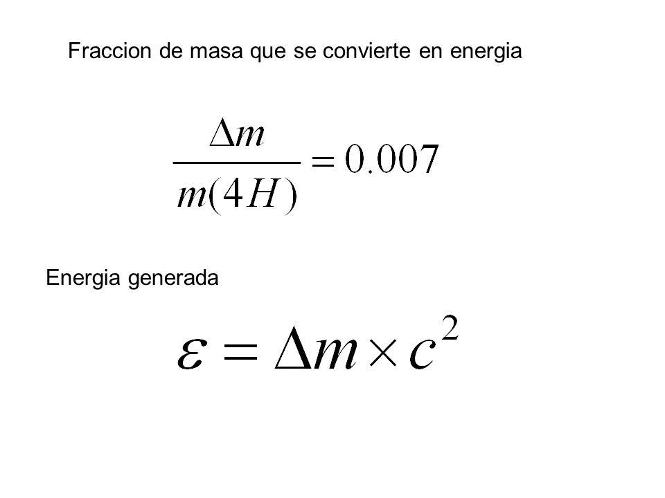 Fraccion de masa que se convierte en energia