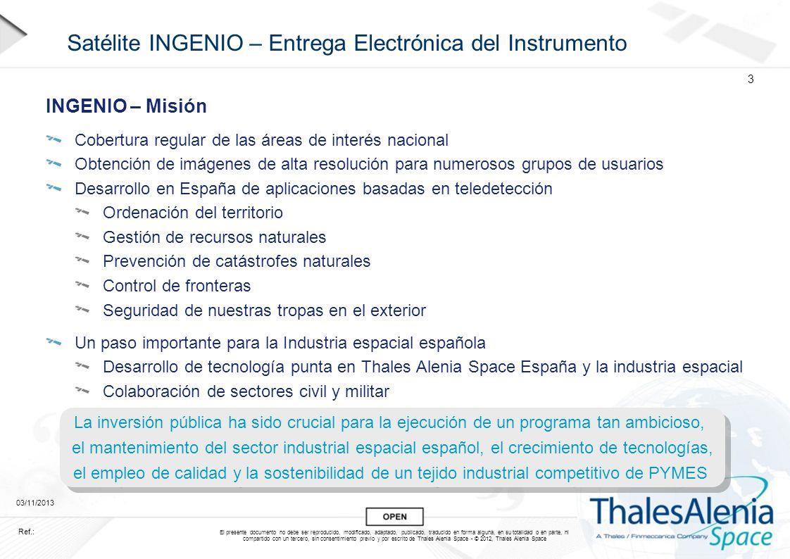 Satélite INGENIO – Entrega Electrónica del Instrumento